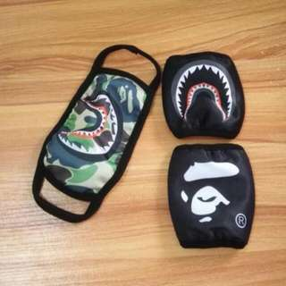 Bape Shark & Bape LOGO BLACK Camo Face Mask 3 Colors