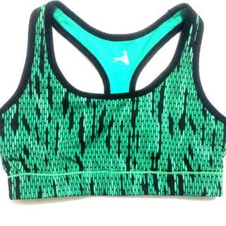 Green Snakeskin-Pattern Sports Bra