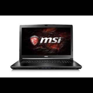 "MSI 17.3"" Core i7-7700HQ 8GB RAM 1TB HDD GTX 1050 2GB Full HD Gaming Notebook."