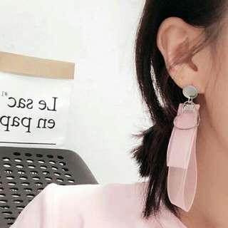 韓國心心雪紡耳環 顏色:粉紅/粉藍/漸變銀黑/酒紅/黑 $221