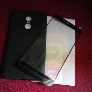紅米note4x 玻璃貼+硅橡手機套