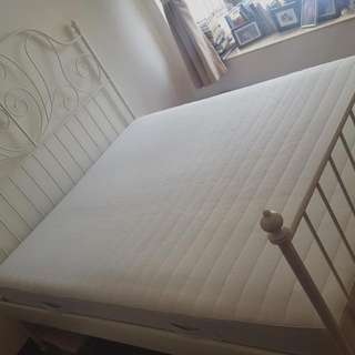 Metal White Bed And Mattress Like New