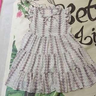 清新小花飛袖洋裝
