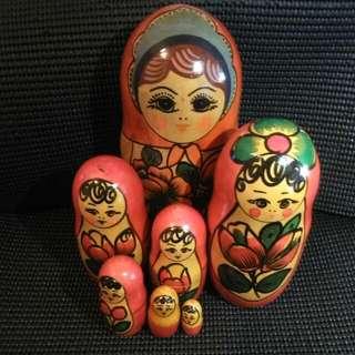 RUSSIA Wooden Handmade Doll 蘇聯娃娃 (一套7件)