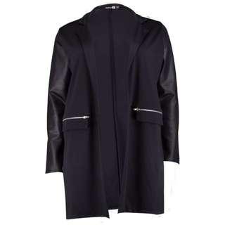 Boohoo Plus Paige PU Sleeve Jersey Duster Jacket - Size 18