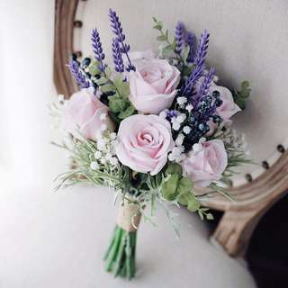 💐YourStalkMarket - Artificial Hand Flower Bouquet in purple and pink hues