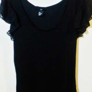 H&M Black Tank Top with Ruffled Sleeves