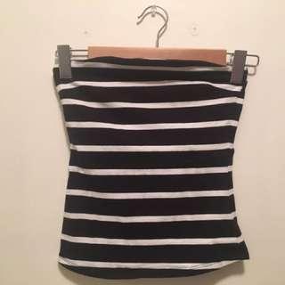 Black And White Striped Boobtube