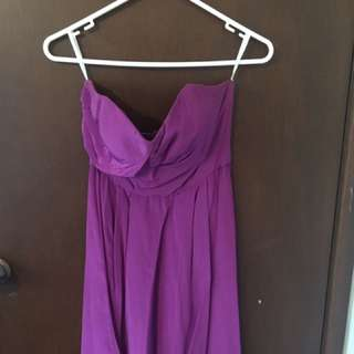 Zimmerman Strapless Tucked Dress in Purple