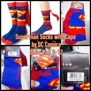 DC COMICS Superman With Cape Socks For Shoe Size Mens 6-12 (2pairs Onhand)