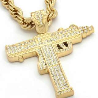 Men's Gold Plated Sub Uzi Pendant With Rope Chain Necklace