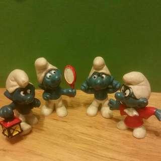 Vintage Schleich Smurf Figurines X 4