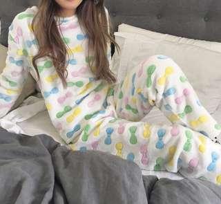 Long Sleeve Velvet Fleece Pull Over Set Pyjamas(RIBBON)
