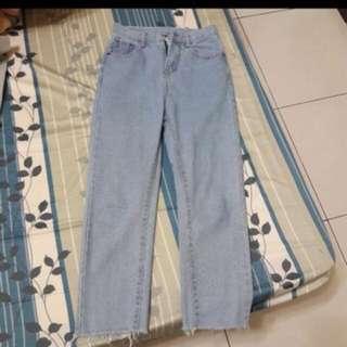淺藍牛仔高腰直筒寬褲-s