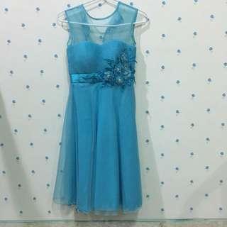 dress pesta biru design sendiri