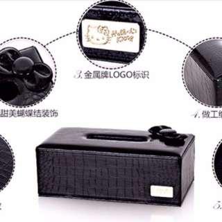 🚚 Kitty 高檔精緻面紙盒 面紙套 立體蝴蝶結 sanrio  經典黑  尺寸:26.4cm*13.8cm*9.4cm