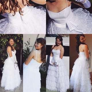 Debutante Deb Wedding Dress White Lace Size 12