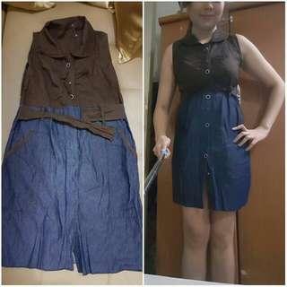 2-tone Button-down Dress