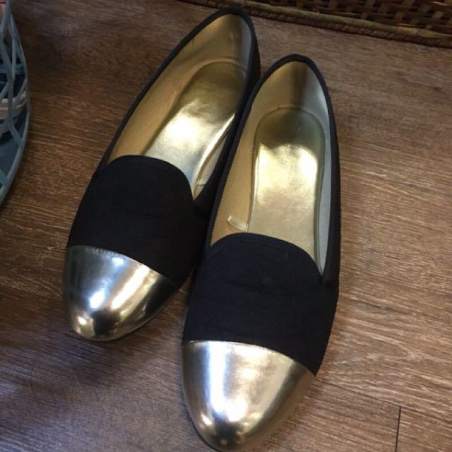 金色炫頭平底娃娃鞋