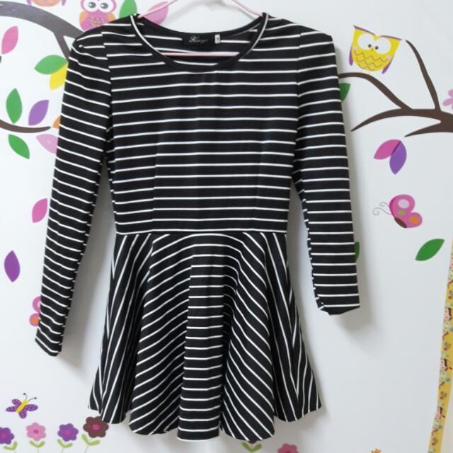 全新)黑白條紋洋裝