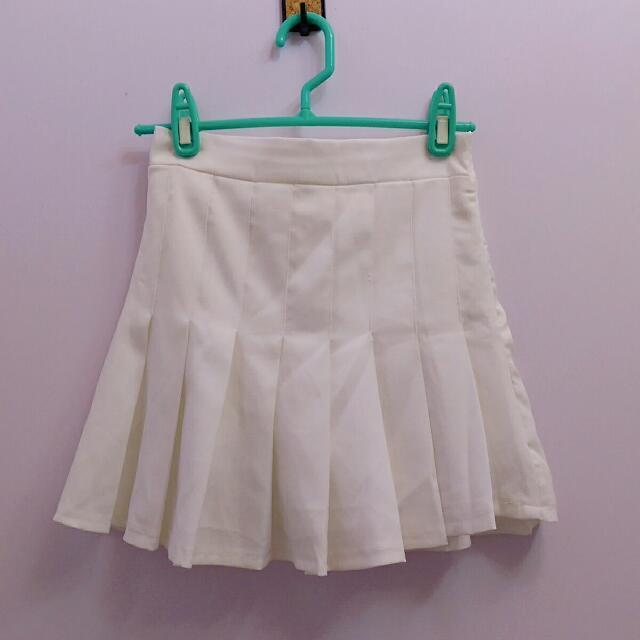 韓妞必備白色百褶褲裙