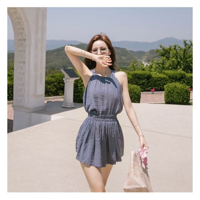 韓國購入 削肩雪紡褲裙套裝 白色