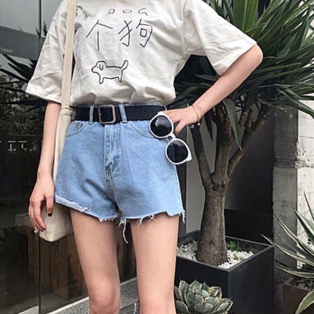 韓國 褲管不對稱牛仔短褲 高腰顯瘦
