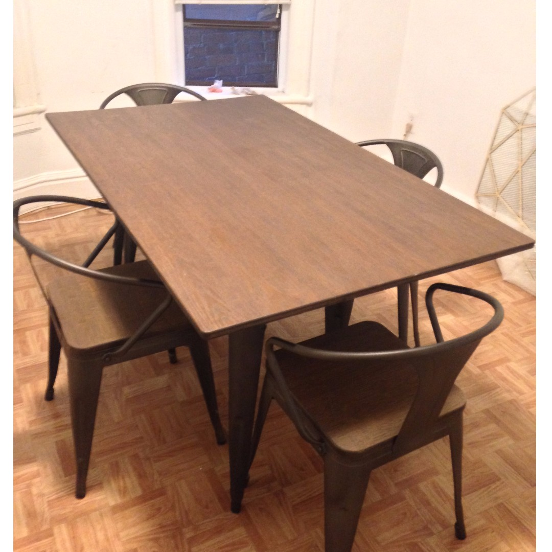 Bamboo Wood and Steel Dining Table and 4 Chairs ***Price Drop***