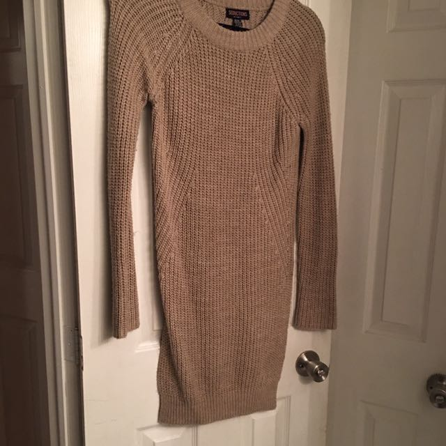 Beige Sweater With Side Slits