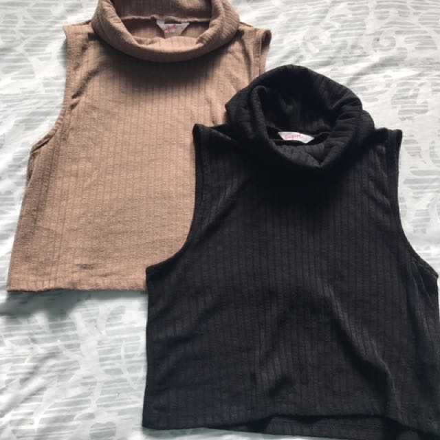 Black Or Tan Coloured Turtle Neck Top
