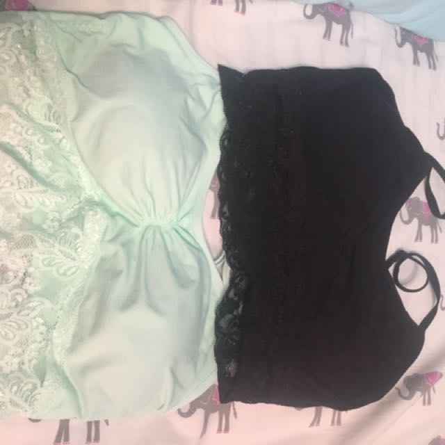 Black And Mint Bralette With Lace Size Large
