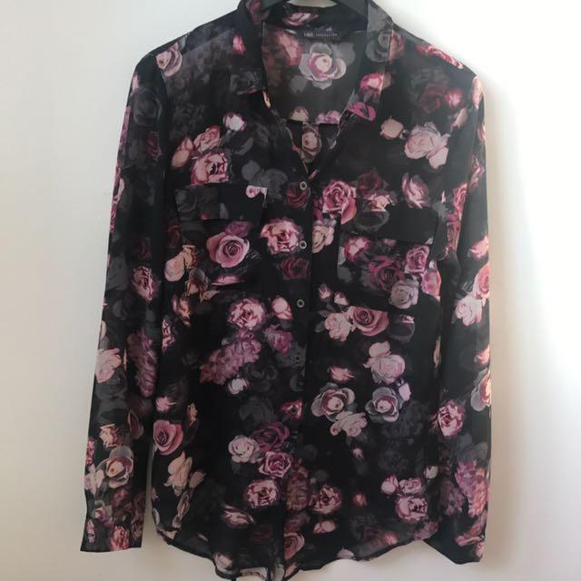 Black N Pink Floral Top