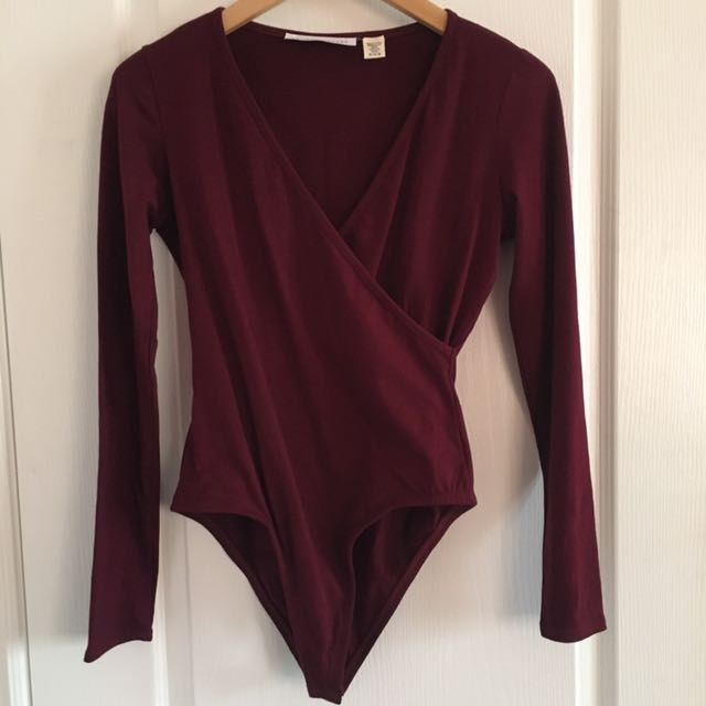 Burgandy Crossover Bodysuit