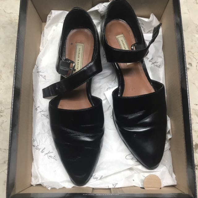 Charles and Keith Black Leather Preppy Shoes