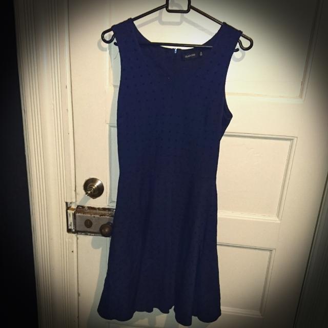 Dark Blue Dress W/black Dots. Size 8.