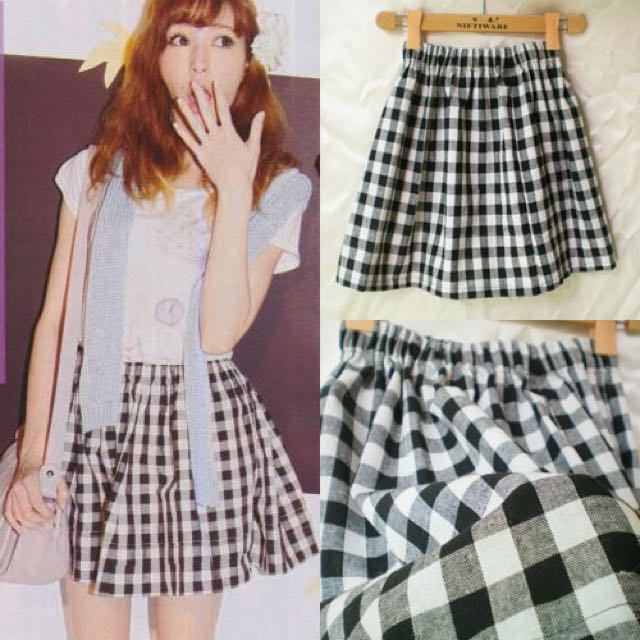 025681e308 F21 Black White Checkered Skater Skirt, Women's Fashion, Clothes ...