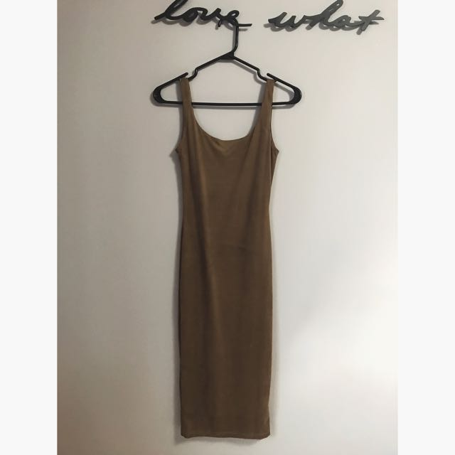 Faux Suede Taupe Lulu's Midi Dress, XS