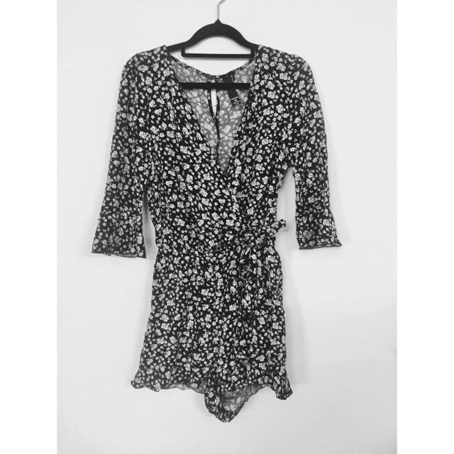 Floral Long Sleeve Playsuit