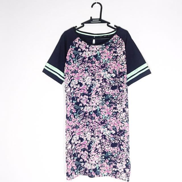 ForMe Dark Blue with Floral Print Shirt Dress