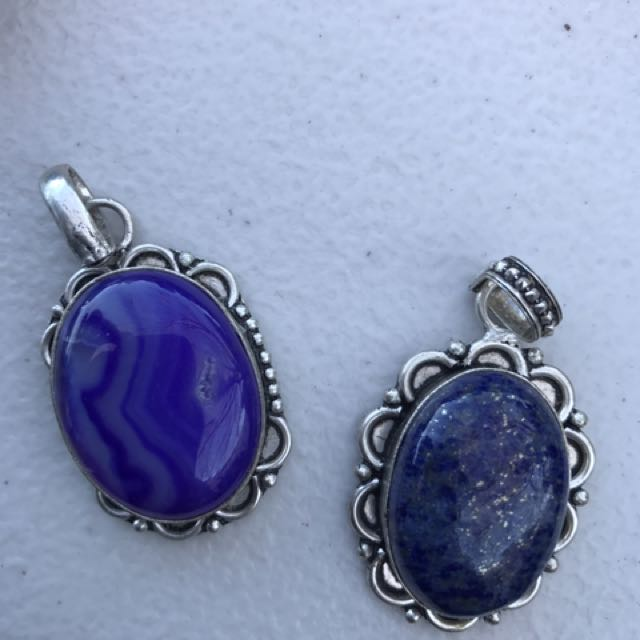Genuine Silver Stone Pendants
