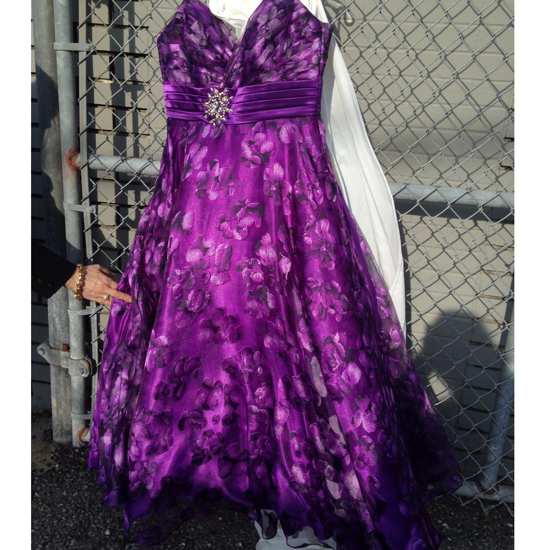 Gorgeous Purple Floral Evening Gown Worn Once ***Price Drop**