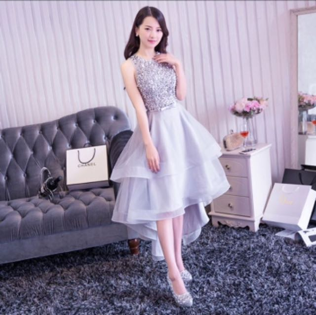 Grey Bling Sequins Dinner Dress Gown Front Short Long Tail Women S Fashion Clothes Dresses Skirts On Carou