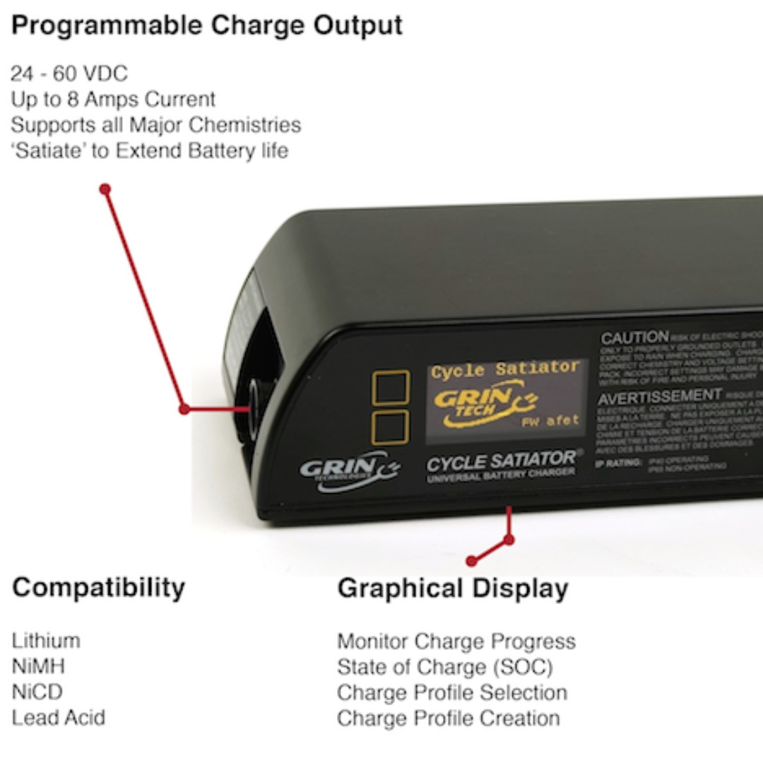 Grin Technologies Cycle Satiator Universal Programmable Lithium High Current Battery Charger Packs For Mileage Electric Bicycle Ebike And Scooters