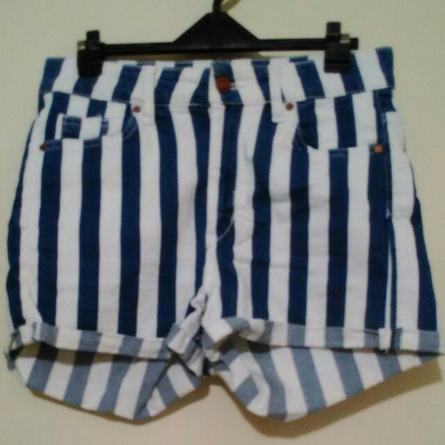 H&M藍白條紋牛仔褲