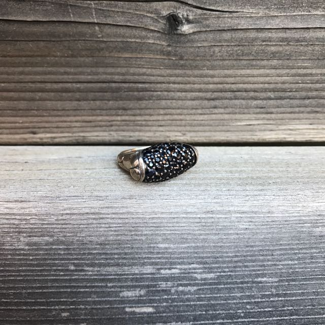 John Hardy Black Sapphire Ring From The Cobblestone Collection, Size 7