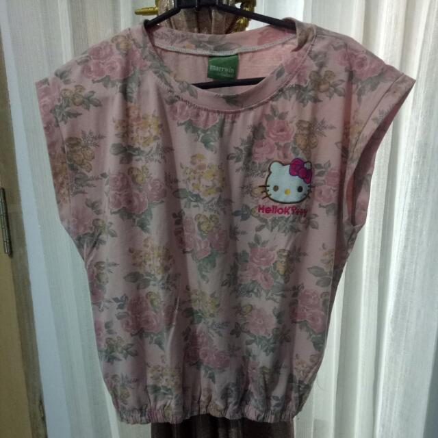 Kaos Hello Kitty Lucu Crop