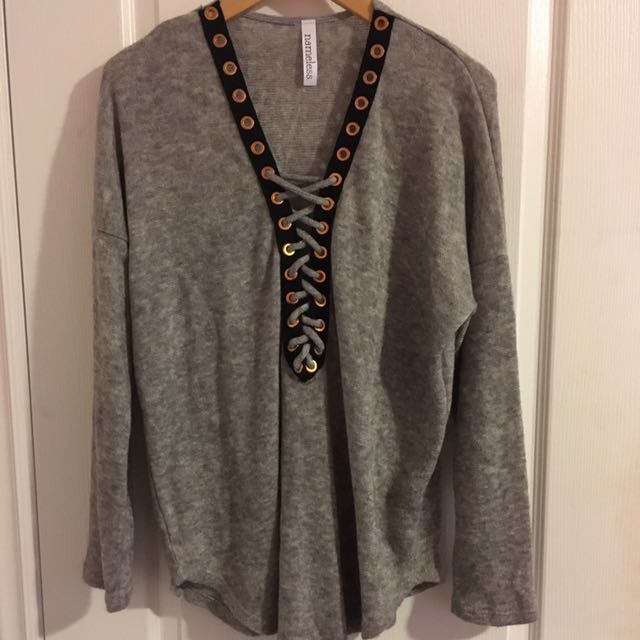Lace Up Detail Grey Sweater