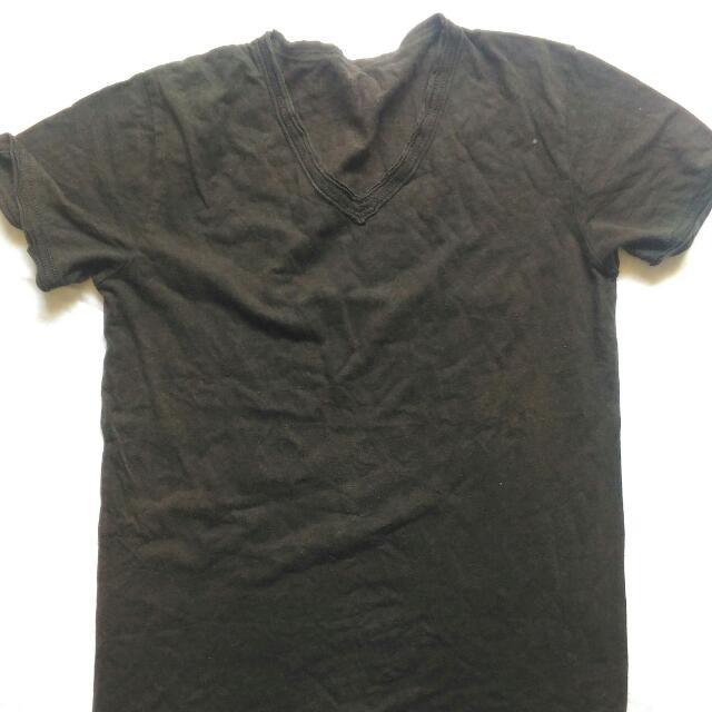 Mens Folded&Hung Vneck Tshirt Black