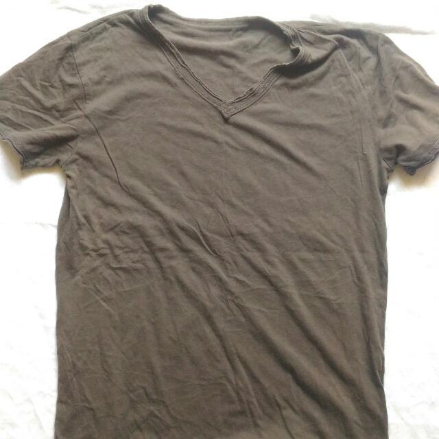 Mens Folded&Hung Vneck Tshirt Gray