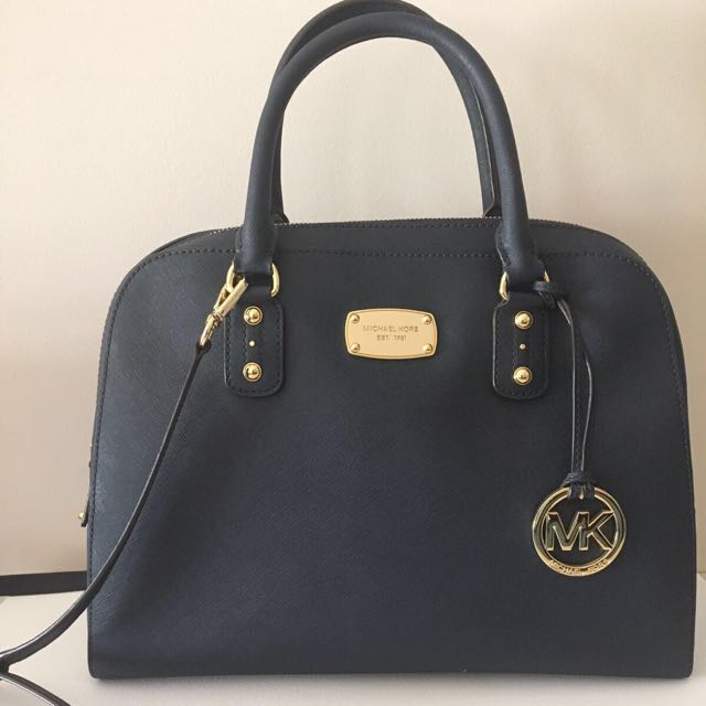 MICHAEL KORS — Navy Saffiano Leather Satchel